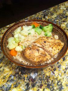 Chicken breast marinated in balsamic vinaigrette, brown rice and veggies.