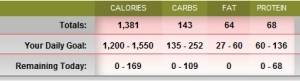 """Totals for today.  Damn that fat! I'm sure it was from the avocado and that's """"good fat"""" right?"""