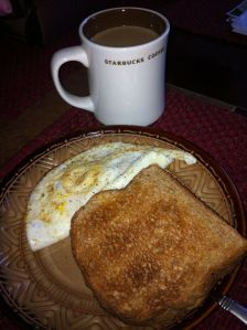 I didn't eat this in the dark, contrary to what it looks like! Same breakfast - eggs, toast and coffee. 364 calories.