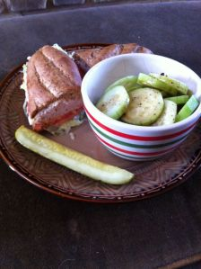Firehouse subs medium turkey sandwich, cucumber with balsamic vinegar & a pickle. 516 calories