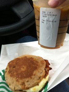 Paired with an iced nonfat caramel macchiato. Breakfast total: 460 calories