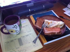 2 large eggs, whole wheat toast with butter and coffee with half & half and sugar in the raw.  Calories: 364