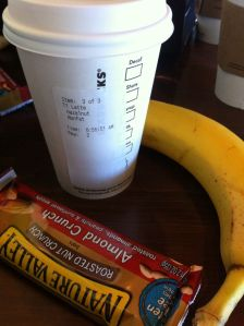 Half of this tall nonfat hazelnut latte, granola bar & 1/2 this banana. Calories: 290