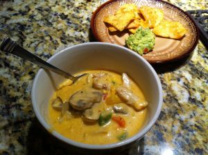 Soup, 1 serving of chips & tsp of guac. Calories: 478 calories
