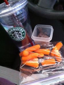 Carrots, spicy black bean hummus and a big tumbler of water. I had a cup of coffee too! Total: 107 calories for my snack.