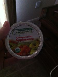 Central Market unsweetened apple sauce. 50 calories.