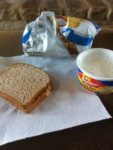 PB&J on whole wheat with Lay's chips & French Onion Dip. Bad lunch... 535 calories