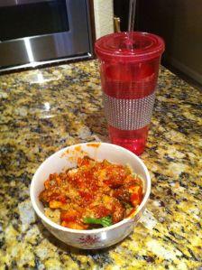 Whole wheat pasta, sauce, chicken, mushrooms & broccoli.  336 calories