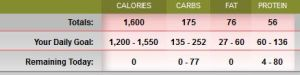 Totals for today. Over by a bit on my calories and fat. Damn.